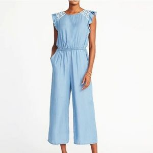Chambray Embroidered Flutter Sleeve Jumpsuit